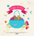 greeting card with easter basket for kids vector image