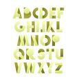 Retro font in green Green alphabet Realistic vector image