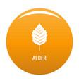 alder leaf icon orange vector image