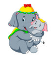 an elephant wearing a yellow hat and playing vector image vector image
