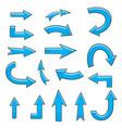 arrows blue hand drawn sketch collection vector image vector image
