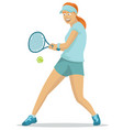 beautiful girl playing tennis vector image