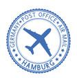 blue round hamburg postmark for envelope vector image vector image