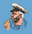 boatswain with pipe sea captain marine old vector image vector image