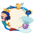 border template with mermaid and pearl vector image