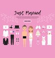 bride and groom characters constructor template vector image