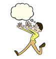 cartoon man running away with thought bubble vector image vector image