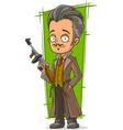 Cartoon smart detective in coat vector image vector image
