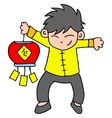 Character of boy with lampion vector image vector image