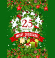 christmas wreath with gift and star greeting card vector image vector image