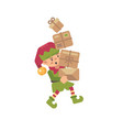 cute busy christmas elf carrying parcels with vector image vector image