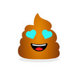cute funny poop with hearts on eyes shit icon vector image