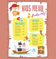 design for kids menu vector image