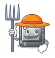 farmer button q isolated in mascot vector image vector image