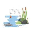 Fishing landscape i vector image