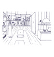 freehand sketch of apparel shop interior with vector image