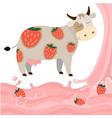 Fruit strawberry milk splash milk cow vector image