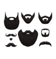 hand drawn beards and mustaches collection vector image vector image