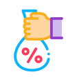 hand giving percent icon outline vector image vector image