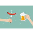 hand holding grilled sausage on fork and hand vector image