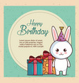 happy birthday card with cute rabbit vector image vector image