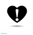 heart black icon love symbol exclamation mark in vector image vector image