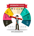 infographic design with man holding big pencil vector image vector image