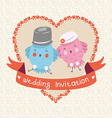 Invitation or wedding card with two bird vector image vector image
