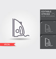 iron line icon with editable stroke with shadow vector image vector image