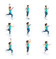 isometrics of the girl are engaged in sports vector image vector image