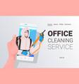 janitor in hazmat suit cleaner in mask smartphone vector image vector image