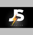 js letter logo design with lighting thunder bolt