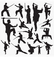 kung fu silhouettes vector image