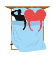 Love in bed Lovers in bed top view Man and heart vector image