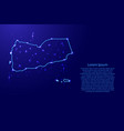 map yemen from the contours network blue luminous vector image vector image