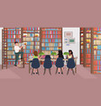 mix race people reading books women sitting at vector image vector image