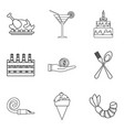 not children food icons set outline style vector image vector image