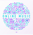 online music concept in circle with line icons vector image
