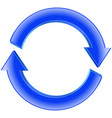 refresh icon shiny blue sign circular arro vector image