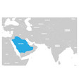 saudi arabia blue marked in political map of south vector image vector image