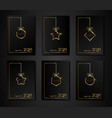 set cards 2021 happy new year gold frame texture vector image vector image