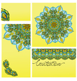 Set of invitation cards with ornaments - kaleidosc vector image vector image