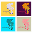set of los angeles map flat style design vector image vector image