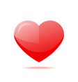shiny red heart with shadow isolated icon vector image vector image