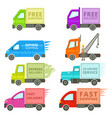 trucks with free or fast shipping signs vector image