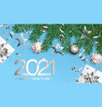 wishing card for happy 2021 new year vector image vector image