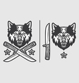 Wolf Head with Crossed Knives Logo Emblem vector image vector image