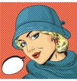 woman in hat retro pop art vector image