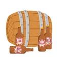 wooden barrel with bottles of beer design vector image