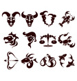 stylish set of zodiac signs vector image